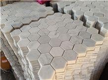 Carrara White Marble Mosaics,Hexagon Mosaics,White Marble Mosaic Tiles,China White Marble Mosaic