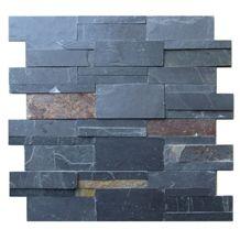 Jak Black Slate Ledgestone Stone Panel, Stacked Stones Wall Cladding