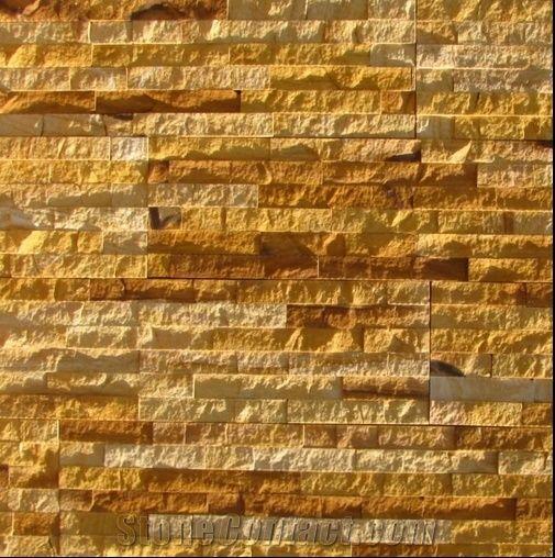 Teak Split Face Sandstone, Yellow Sandstone Wall Cladding ... Yellow Sandstone Cladding