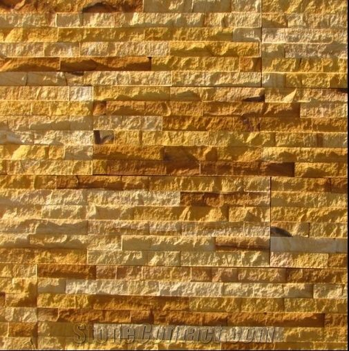 Teak Split Face Sandstone Yellow Sandstone Wall Cladding