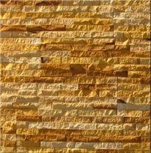 teak split face sandstone, yellow sandstone wall cladding, ledge stone,