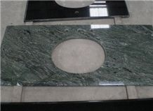 Polished Dark Green Vantiy Tops, Nine Dragon Jade Marble Bath Tops