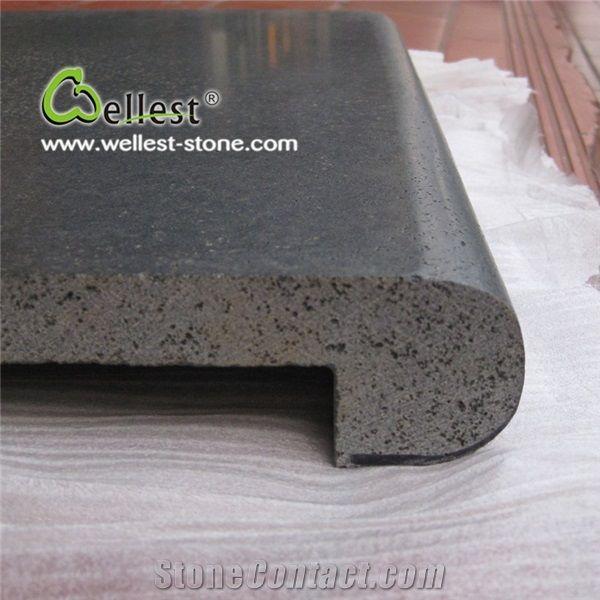 China Natural Black Basalt Honed Finish Drop Face Rebate