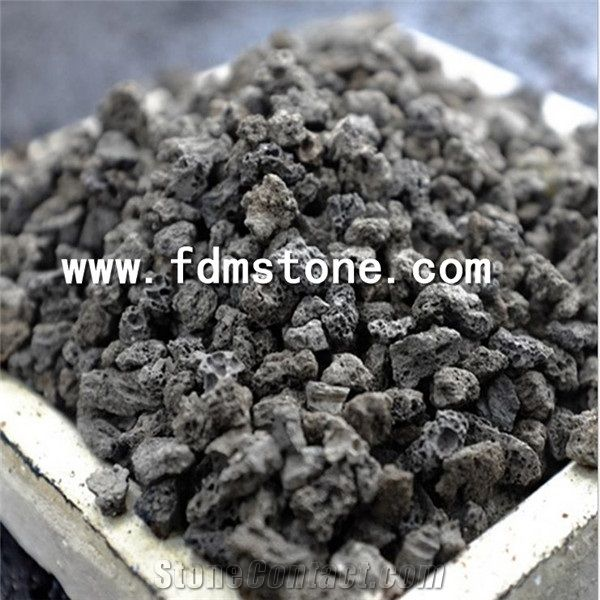 Black And Red Lava Stone For Envirment Basalt Gravel Steak Grill