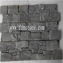 Black Slate Nature Cultured Stone Panel,Wall Stone Veneer,Ledge Stone Veneer,Stacked Stone Wall Cladding, Ledge Stone Corner,Cement Cultured Stone Wall Veneer Stacked