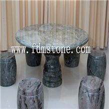 China Cheap Green Marble Outdoor Natural Stone Round Table and Chair Set