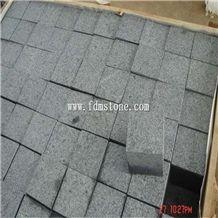 China G654 Cube Stone,Flamed Cobble Stone, Padang Dark Cheap Grey Granite Cube Paving