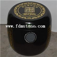 China Granite Memorial Funeral Accessories Urns for Ashes, Cemetery Stone Crematorium Cinerary Casket, Cremation Round Urns, Monumental Urns, Urn Vaults
