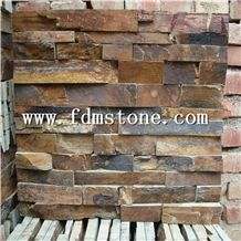 Exterior Multi Rusty Natural Slate Split Face Cultured Stone Wall Cladding,Thin Stone Veneer,Flexible Stone Wall Decor,Ledge Stone, China Rusty Brick Stacked Cladding