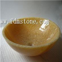 Honey Onyx Marble Round Wash Basin/Bowl Sinks for Bathroom, Honey Onyx Marble Sinks & Basin