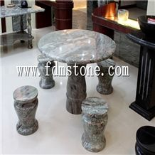Outdoor Round Green Stone Dining Table,Contemporary Style Marble Table