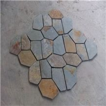 Rustic Slate Random Flagstones Flooring Paver,Meshed Slate Stone,Slate Flagstone Patio