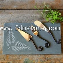 Wholesale Black Natural Slate Stone Pizza Cheese Board with S/S Handles Slate Handle Dinner Tapas Plate Food