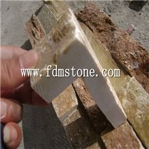 Yellow Chinese Slate Random Flagstone Mats/Special Cultural Stone Paving/ Paving Stone Landscape Slate Yellow /Natural Split Surface Yellow Patio Pavers/Random Stone Flagstone Wall