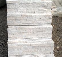 Fargo Snow White Quartzite Stacked Stone Veneer, China Crystal White Quartzite Wall Cladding Panels, Chinese White Quratzite Cultured Stone, White Cultural Stone Panels, White Ledge Stone
