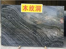 Black Wavy Black Wooden Marble Slabs & Tiles, China Black Marble