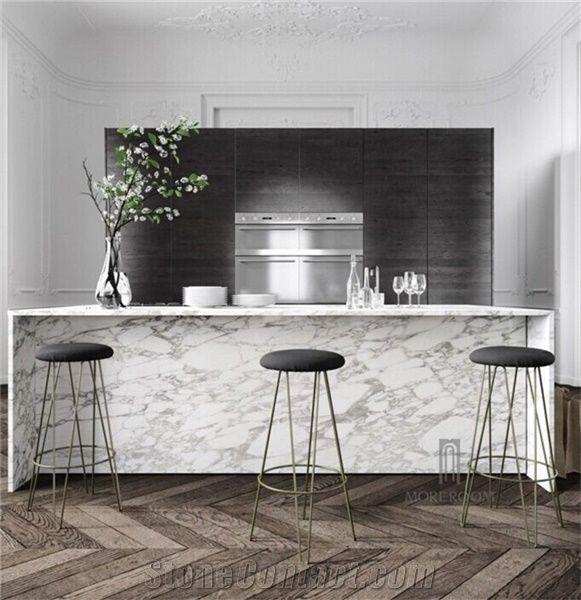 Arabeo Vagli White Marble Kitchen Countertops Bar Tops