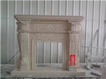 Chinese Factory Beige Marble Cream Marfil Marble Fireplace for Villa