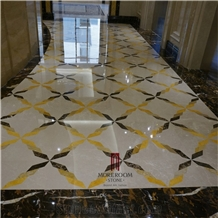 Laminated Marble Floor Tiles Water Jet Marble