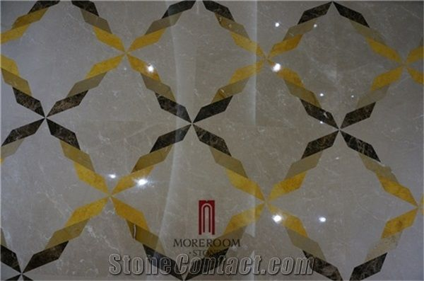 Laminated Marble Floor Tiles Water Jet Marble From China