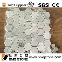 Carrara White Marble Hexagon Mosaic for Wall