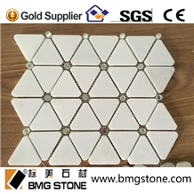 Triangle Pure Crystal White Marble Mosaic Glass