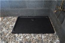 China Black Basalt Granite Mongolian Black Polished Shower Tray Shower Base Shower Stand