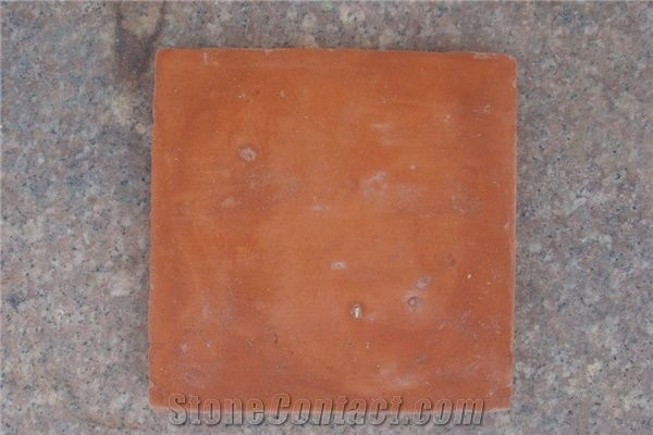 Handmade Terracotta Tile Clay Glazed Brown Yellow Orange