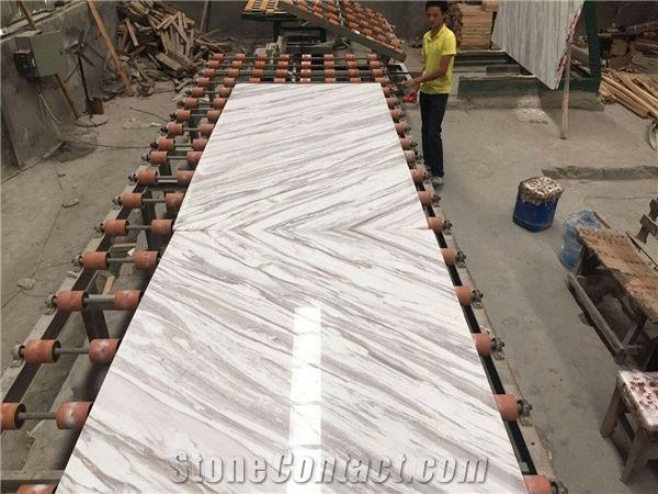 Book Matched Volakas White Marble Slabs And Tiles