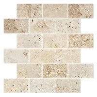 beige travertine Natural Stone wall Mosaics