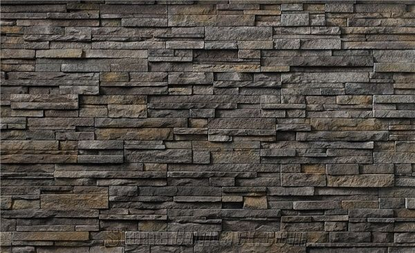 Black Slate Cultured Stone For Wall Cladding Stacked