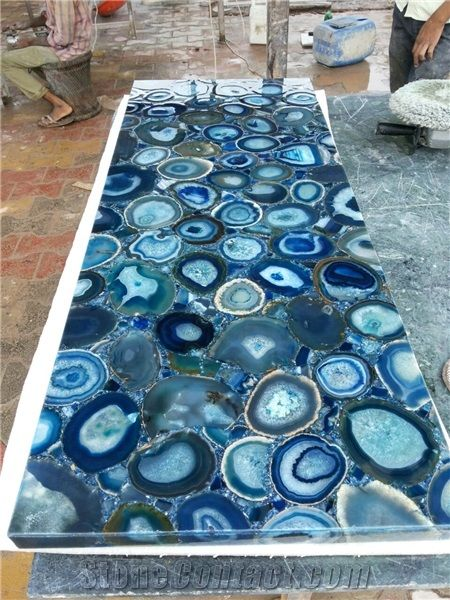 Blue Agate Stone Semiprecious Tiles