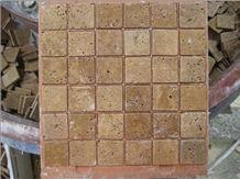 Beige Travertine Mosaic for Wall Cladding