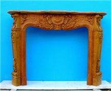 Brown French Style Marble Fireplace-Rsc019