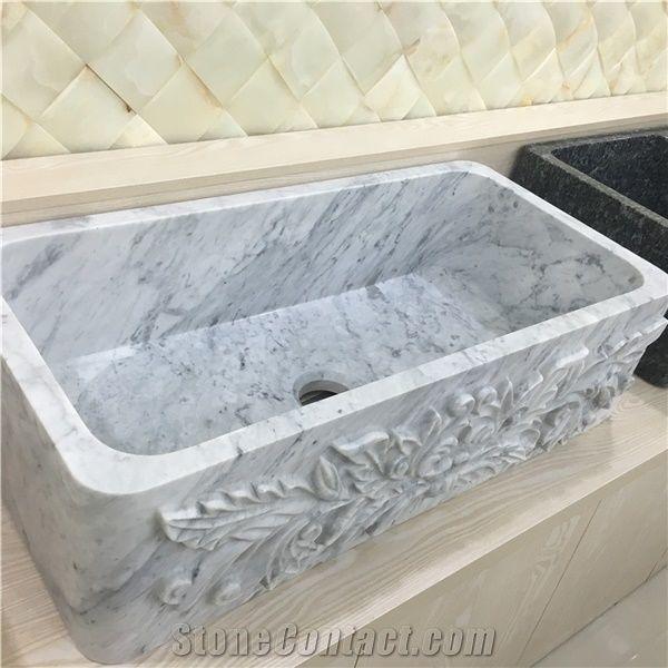 Carrara White Marble Kitchen Sink Basins From China