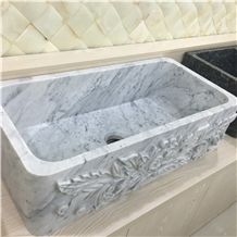 Carrara White Marble Kitchen Sink & Basins