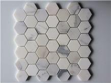 Hexagon Calacatta Gold Marble Mosaic Tiles