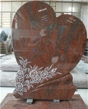 High Polished Red Granite Heart Shape Tombstone