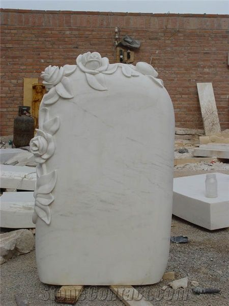 White Marble Hand Carved Flower Headstone From China