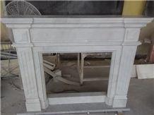 100% Man Craved Hunan White Fireplace Mantel Flower Design