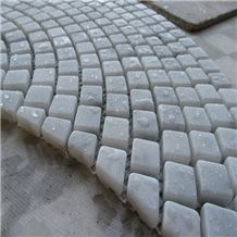 Beautiful White Italy Bianco Carrara Marble Tumble Mosaic Tiles for Floor, Natural Stone Brick Tumbled Mosaic, Waterproof Treatment Interior Indoor Use Decoration, High Quality Good Price