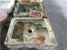 China Elegant Green Onyx Rectangle Wash Basin