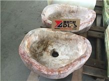 China Orange Onyx Wash Basin / Sinks