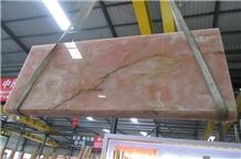 Chinese Pink Color Onyx Pink Onyx Slab Polished Finishing