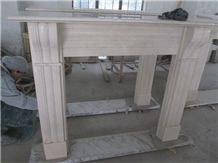 Classic Crema Marfil Marble Fireplace Mantel Surrounding