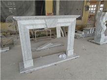 Pure Man Craved Bianco Carrara White Marble Fireplace Mantel Surrounding