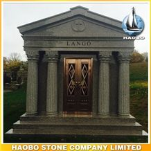 6 Crypts Walkin Private Custom Design Mausoleum, G635 China Pink Granite Cemetery