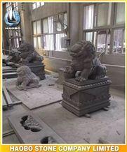 Garden Decoration Statues Chinese Dark Grey G654 Granite Stone Outdoor Handcarved Lions Sculptures