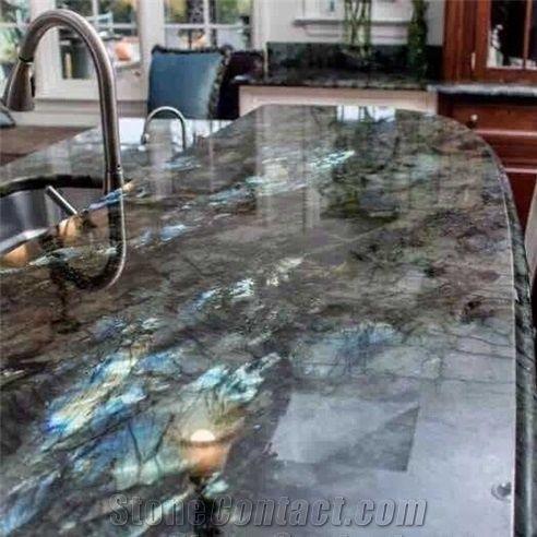 Labradorite Blue Granite Kitchen Island Countertops From