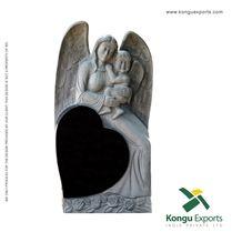 Absolute Black Granite Angel Headstone, Tombstone